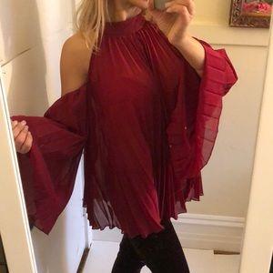 Zenobia Elegant Red pleated blouse 3X